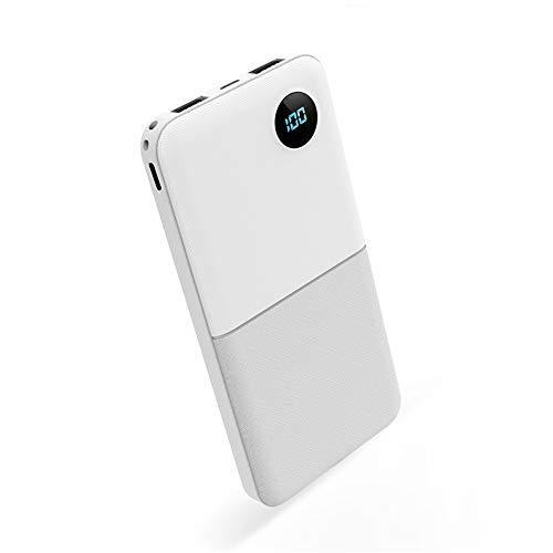 SACYSAC Powerbank, 10000 mAh bewegende powerbank met twee USB-uitgangspoorten en digitale weergave, geschikt voor opladers voor smartphones en tablets