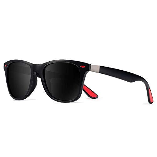 CHEREEKI Occhiali da Sole Polarizzati, Moda Occhiali da Sole Donna e Uomo UV400 Protezione (Nero)
