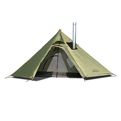 Tipi Hot Tent with Mesh and Fire Retardant Stove Jack for Flue Pipes, Lightweight, 1-3 Person Teepee Tents for Family Team Outdoor Backpacking Camping Hiking