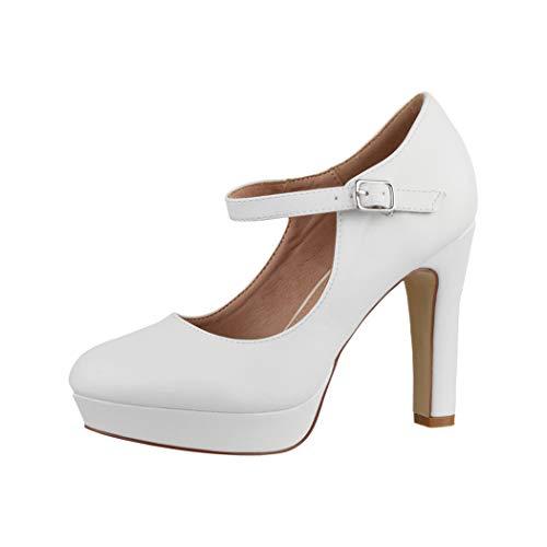 Elara Zapato de Tacón Alto con Correa Mujer Vintage Chunkyrayan Blanco E22320 White-38