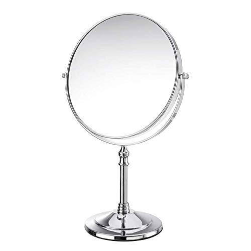 Miroir De Table Miroir Double Miroir De Table HD Grossissement 1x / 3X Pivotant 360 ° Portable en Métal Compact Miroirs Cadeau 8 Po