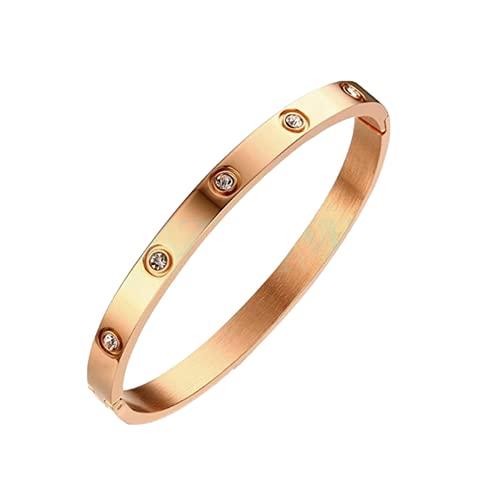 【腕輪 人気】母への腕輪 ガールフレンド ブレスレット レディース チタンスチールダイヤモンド バングルブレスレット、バレンタインデー、母の日, 誕生日プレゼント,直径58mm/2.28''インチに最適, Rose Golden