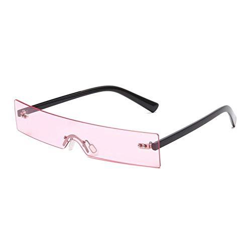 ZZOW Gafas De Sol De Moda Rectangulares Sin Montura De Una Pieza para Mujer, Gafas De Sol Transparentes De Diseñador De Marca, Gafas De Sol Femeninas