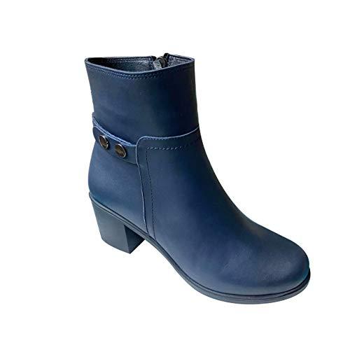 KUZEY SHOES Damskie buty – botki damskie – botki damskie – buty zimowe damskie – botki – damskie – skórzane buty damskie, czarny - czarny - 36 EU