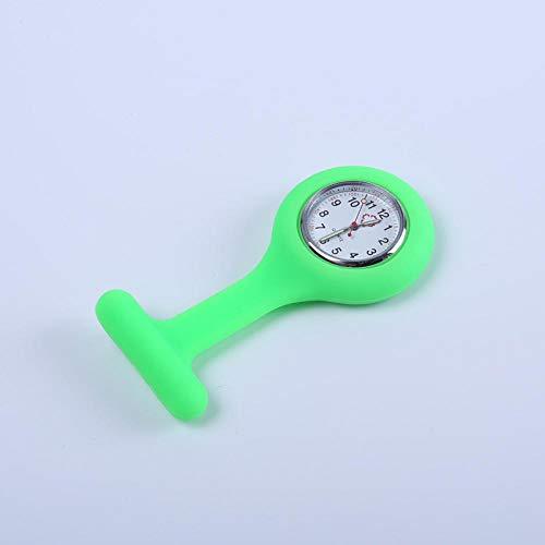 LLRR Relojes Unisex Médico,Mesa Colgante de Enfermera Luminosa de Silicona, Reloj de Bolsillo para Estudiantes, Reloj de Piedra, Verde Claro,Colgante Enfermera Prendedor Reloj