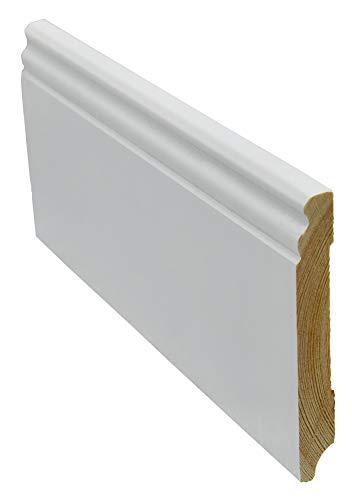 12 Meter Sockelleiste Berliner-Hamburger-Profil 115mm hoch 16mm stark 2400mm lang Fußleiste weiß lackiert Kiefer Massivholz, Farbe:weiß
