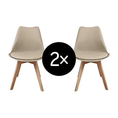 Krok Wood Oliver, Esszimmerstuhl Wohnzimmerstuhl Bürostuhl, klassisches Design, Beine aus Massivholz Buche (Beige, 2)