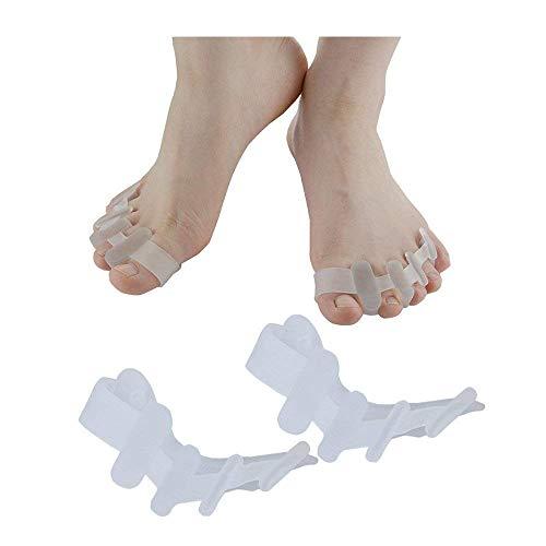4 Pares de juanetes Corrector Separador de Dedos del pie Valgus Dedos de separación superpuestos Rehabilitación Ortesis correctivas Cuatro Agujeros