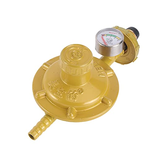 VILLCASE Regulador de Gas Propano Medidor de Presión de Cilindro de Gas para Calentadores de Patio de Caravana Cocinas de Barbacoa Plomero Camping (Amarillo)