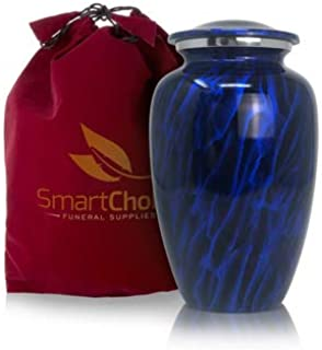 Cremation Urn for Human Ashes (Adult) - Memorial Funeral Vase with Secure Lid - Classic Dark Sky Blue Cremation Adult urn