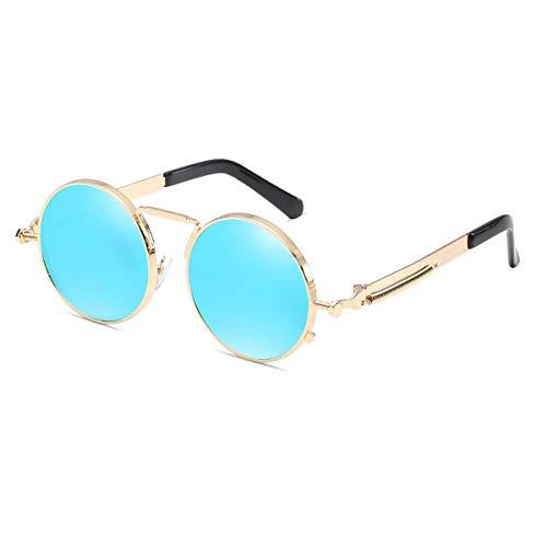 Kennifer Gafas de sol polarizadas redondas de la moda clásica, Estilo Steampunk Gafas de sol polarizadas redondas de la vendimia Gafas retro Marco de metal de protección UV400