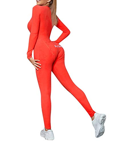 Scoprimay Womens Pajama Onesie Jumpsuit - Butt Flap Long Sleeve One Piece Bodycon Outfits Union Suit Rose Red