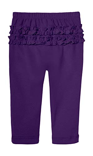 City Threads Baby Girls' Ruffle Leggings Butt Tights Toddler Children Young Kids Pants Play Perfect for Holiday Party Christmas Picture Sensitive Skin SPD Sensory Friendly Clothing, Purple, 4T