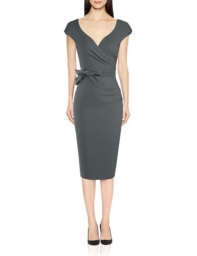 MUXXN Womens 1940s Style Cap Sleeve Ruched Package Hip Nigh Club Tea Dress (Gray M)