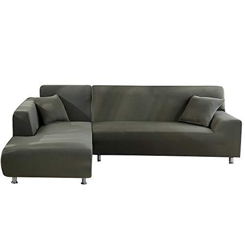 BKHBJ DZ 2 st L-formade sofföverdrag för hörnsoffa vardagsrum sektion Chaiselongue soffa spandex överdrag hörnsoffa stretchskydd (färg: Grey Green, storlek: 2-sits och 3-sits)