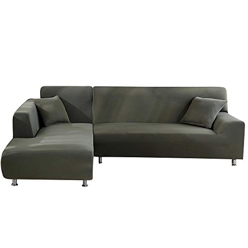BKHBJ DZ 2 Stks L Gevormde Sofa Covers Voor Hoekbank Woonkamer Sectionele Chaise Longue Sofa Spandex Slipcover Hoek Sofa Covers Stretch (Kleur : Grijs groen, Maat : Kussensloop x 4)