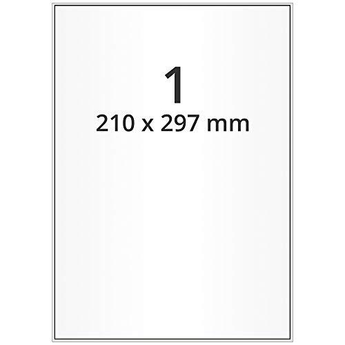 Labelident Inkjet Haftetiketten DIN A4-210 x 297 mm - 100 Papieretiketten selbstklebend auf 100 Blatt, hochglänzend, weiß, Tintenstrahl Etiketten beschichtet
