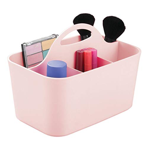 Review Of mDesign Plastic Portable Makeup Organizer Caddy Tote, Divided Basket Bin with Handle, for ...
