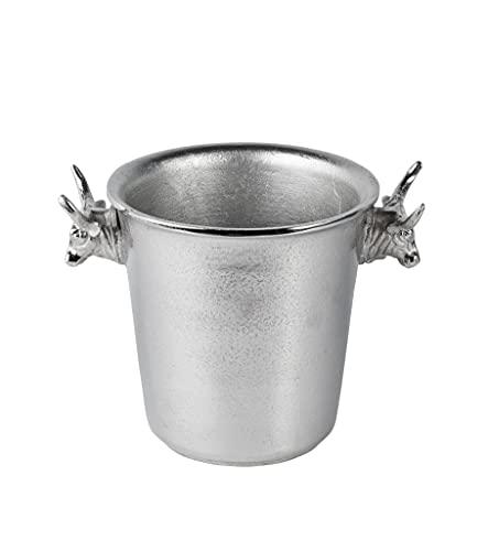 Champagnerkühler Stierkopf, Weinkühler, Flaschenkühler, Sektkühler, Getränkekühler, Aluminium Silber - Kühler für Sekt, Wein und Champagner - 30 cm