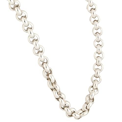 Jollys Jewellers Cadena Belcher de plata de ley de 27.5 pulgadas para hombre (5 mm de ancho)
