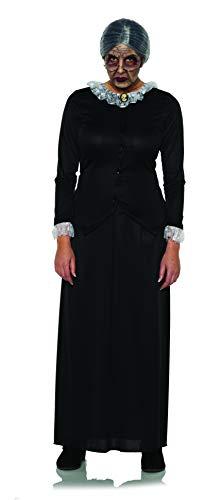 Underwraps - Disfraz de Horror para Mujer, Vestido de Longitud Completa, Color Blanco y Negro, tamao Mediano