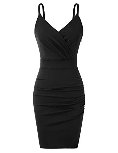 CURLBIUTY Date Night Dresses for Women V Neck Bodycon Ruched Mini Dress Black M