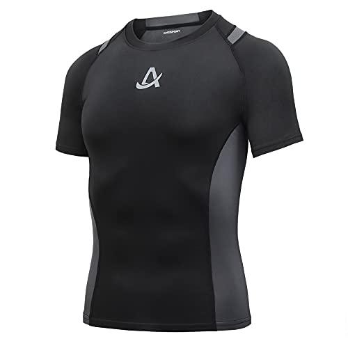 AMZSPORT Maglietta Manica Corta da Uomo a Compressione T-Shirt Sportiva Freddo Secco Maglia Corsa, Nero L