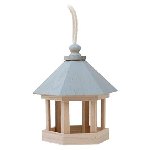 ZXY Alimentador de Pájaros Madera Maciza Tradicional Pagoda Techo Casa de Pájaros con Ventanas Transparentes para el Patio del Jardín Decoración de Mascotas Al Aire Libre,Azul
