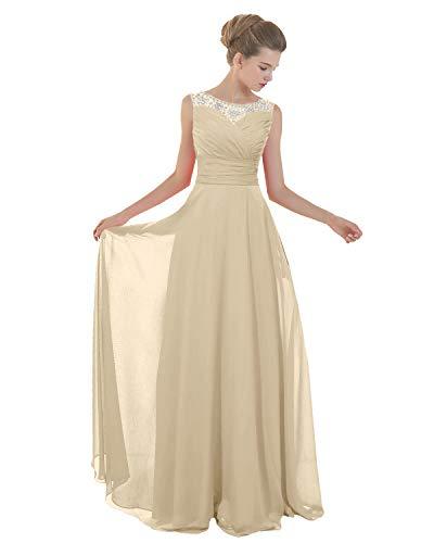ANGELWARDROBE Abendkleid lang für Damen Ballkleid Partykleid mit Mieder, Perlenausschnitt -  Beige -  46