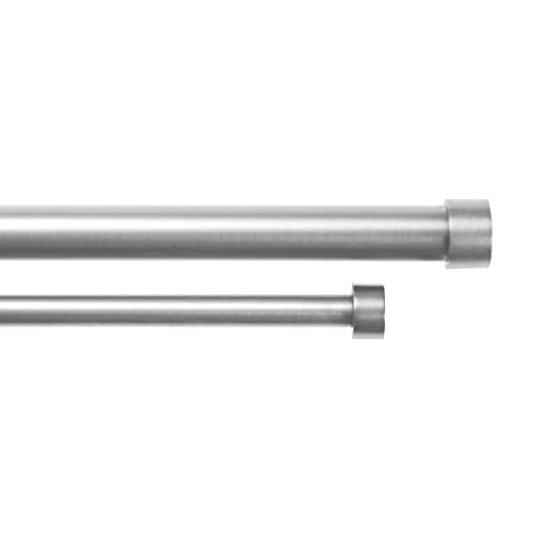 Umbra Cappa Brushed Nickel Double Curtain Rod Set for Window Drapery – Extends from 72 to 144 Inches and Includes 2 Adjustable Curtain Rods, Matching Finials, Brackets & Hardware (Brushed Nickel)