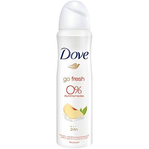 Desodorante Dove en spray de melocotón y limón, 0% de sales de aluminio, 6 x 150 ml