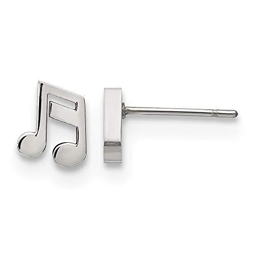 Orecchini in acciaio inox lucido a forma di nota musicale.
