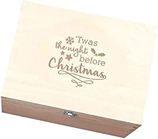 Dust and Things Christmas Eve Box for Kids - TWAS The Night Before Christmas Design - Wooden Family Festive Holiday Decor - Medium Size