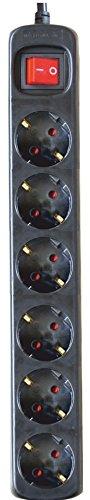 Silver Electronics 9629 Regleta Tomas con Interruptor, Negro, 6 Enchufes / 1,5 metros