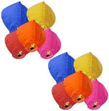 Life's Better Paper Flying Sky Lantern with Fuel Wax Block Candle (Multicolour, 70 X 50 cm, Pack of 5)