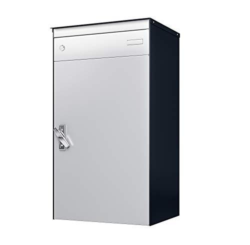 sbox 17 Briefkasten, Briefkasten mit gesichertem Paketschliessfach, einfache Selbstmontage, Hochwertiges Aluminium, 440x800x340mm, Handgefertigt (Patina Anthrazit Glimmer & Weissaluminium (RAL 9006))