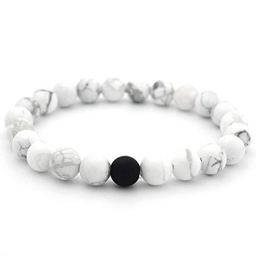 Cocolook Bracelet de Couple 8Mm Bracelet de Couple de pin Blanc Naturel Noir dépoli, Noir givré, Pin Blanc + 1 Sable abrasif