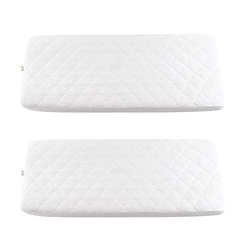 Bamuho Pack N Play Crib Mattress Cotton Pad/Protector,Quilted Waterproof with Highly Absorbent, Fitted for Mini & Portable Playard Crib,27' X 39'(2 Pack)