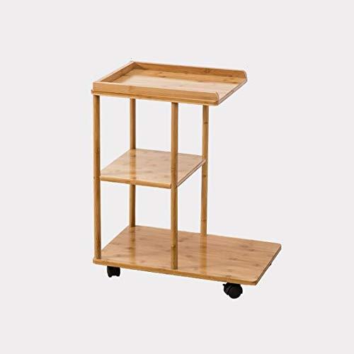 FEI Table de chevet sur roues avec étagères à 2 niveaux et roulettes à roulettes, table de lit écologique pour lit de séjour