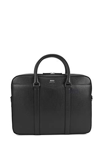 BOSS Herren Signature S doc Tasche aus genarbtem Palmellato-Leder aus der Signature Collection Größe, Schwarz Einheitsgröße