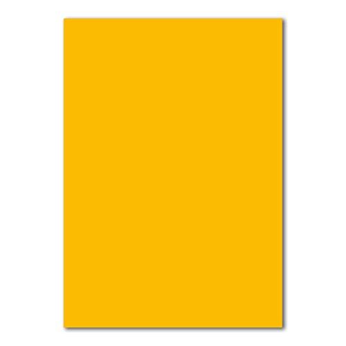 50x DIN A4 Papier Planobogen -Gelb/Honiggelb - 110 g/m² - 21 x 29,7 cm - Bastelbogen Ton-Papier Fotokarton Bastel-Papier Ton-Karton - FarbenFroh