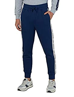 Splash Cotton Drawstring Elastic Waist Side Pocket Striped-Side Cuffed Sweatpants for Men