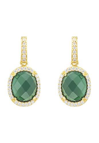 Pendientes DE Gota DE Piedra Ovalada DE Beatrice ÓNIX Verde Dorado