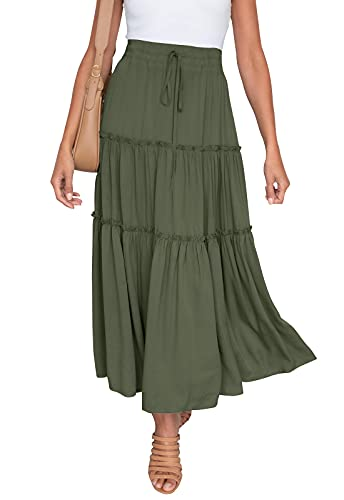 HAEOF Women's Boho Elastic High Waist A Line Ruffle Swing Beach Maxi Skirt (Army Green, Medium)
