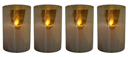 Mini LED Adventskerzen im Glas - Höhe 7,5 cm - 4er Kerzenset/Sparset - Realistische Wackelflamme - Kerze Weihnachten/Kleine Weihnachtskerzen/Adventskranz (Amber)