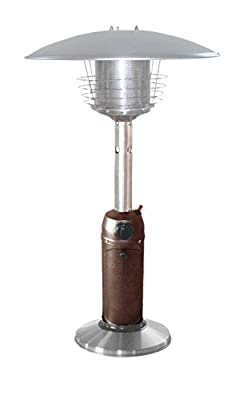 Hiland HLDS032-BB Portable Table Top Patio Heater, 11,000 BTU, Use 1lb or 20Lb Propane Tank, Hammered Bronze