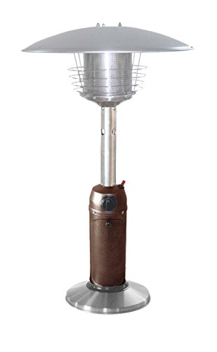 Hiland HLDS032-BB Portable T able Top Patio Heater, 11,000 BTU, Use 1lb or 20Lb Propane Tank, Hammered Bronze