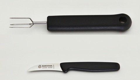 Pellkartoffel-Set, 2-tlg. Pellkartoffelgabel + Küchenmesser gebogen, rostfrei, Kunststoffgriff schwarz, Marsvogel Solingen