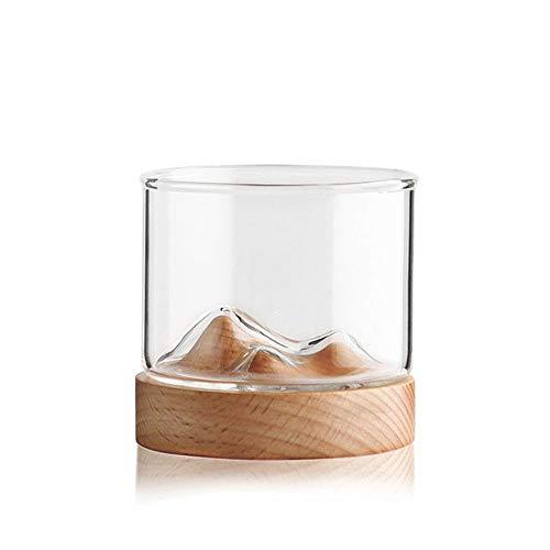 GSOLOYL Montagna Bicchiere di Whisky con Base in Legno Rocks Beer Glass Tazza del Vino Irlandese Borbone Scotch Whisky Bicchieri...