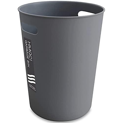HMQCI Small Trash Can Round Plastic Wastebasket, Garbage Container Bin 1.5 Gallon Capacity(2-Grey, 7.7'10.2')